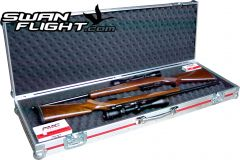 Twin Rifle flightcase open with guns